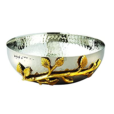Elegance Golden Vine Hammered Stainless Steel Salad Bowl, 6.5-Inch, Silver/Gold