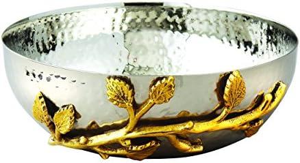 Elegance Golden Vine Hammered Stainless Steel Salad Bowl 6 5 Inch Silver Gold 70031 Salad Bowls Amazon Com