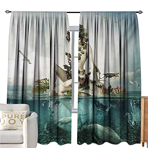 bybyhome MermaidBlackout Window CurtainMythological Woman Sitting on a Shell with Leaves Birds Clouds Over Magic SeaDecor Curtains by W72 xL84 Blue Beige Teal