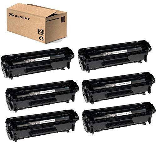 12A Q2612A Toner Cartridge 6 Pack Replacement for Laserjet 1010 1012 1015 1018 1020 1022 3015 3020 3030 3050 M1005MFP M1319MFP, Sirensky Brand (Black)