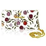 Marino Orlandi Italian Designer handpainted Roses White Leather Oversized Clutch Wallet