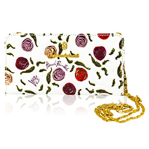 Marino Orlandi Italian Designer handpainted Roses White Leather ... 1a5a65e0214a4