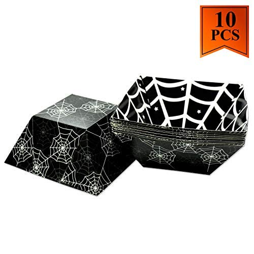 10 Pack Halloween Bowl Paper Candy Bowl Food Tray for Halloween Party Favors Candy Bags Eco-Friendly Food Disposable Boats - Spider Web Design ()