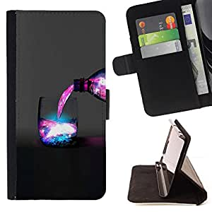KingStore / Leather Etui en cuir / Samsung Galaxy Note 3 III / Espacio Galaxy Bebida