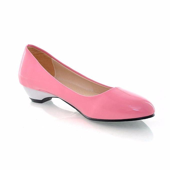 Einzelne Mädchen Schuhe flache Mund candy Farbe mit den Kopf nach unten ist einfach Leder Schuhe Frauen, gelb, 44