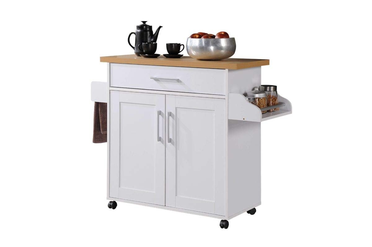 Hodedah Kitchen Island with Spice Rack, Towel Rack & Drawer, White with Beech Top by Hodedah