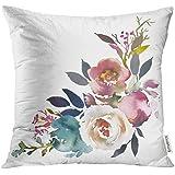 Emvency Throw Pillow Cover Navy Anemone Dusk Blue Pale Pink Gray White Watercolor Floral Corner Bouquet Arrangement Decorative Pillow Case Home Decor Square 18x18 Inches Pillowcase
