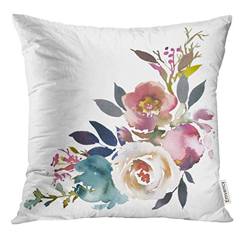 (Emvency Throw Pillow Cover Navy Anemone Dusk Blue Pale Pink Gray White Watercolor Floral Corner Bouquet Arrangement Decorative Pillow Case Home Decor Square 18x18 Inches Pillowcase )
