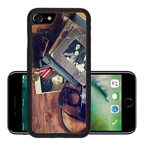 Luxlady Premium Apple iPhone 7 iPhone7 Aluminum Backplate Bumper Snap Case IMAGE ID 31431726 top view of vintage camera old pictures and war madal historic (Jelly Lens Iphone Filter compare prices)