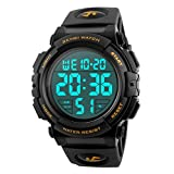 Men 's Large Face Digital Outdoor Sports Waterproof Watch LED Luminous Alarm Stopwatch Simple Army (Gold)