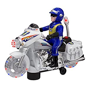 TECHEGE Toys Motorcycle Police Officer with Flashing Lights Bump'n'Go Pursuit Sounds Police Chase Cops'n'Robbers