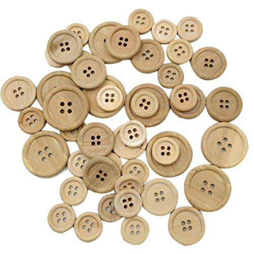 Ularmo 50 Stück 3 Größe gemischte Holzknöpfe Runde 4-Löcher Nähen Scrapbooking DIY