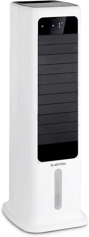 Klarstein Skytower Smart - Enfriador de aire, Purificador, Humidificador, Wifi, Control por App, Caudal de aire 450 m³/h, Potencia 60 W, Depósito 6 L, 2 acumuladores de frío, Oscilación, Blanco