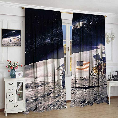 smallbeefly Space Room Darkening Curtains Astronaut on Moon