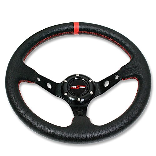 Wheel Drift (RXMOTOR WHEEL-008RD Drifting Deep Dish 350 mm 6 Hole Sport Steering Wheel Racing Trim Universal Honda Acura Mazda Mitsubishi Lexus, Red)