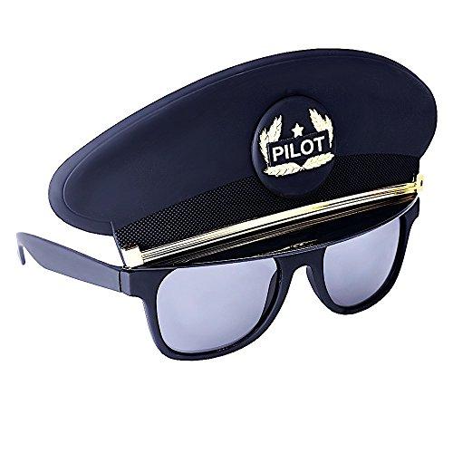 - Sun-Staches Costume Sunglasses Black Cap Pilot Party Favors UV400