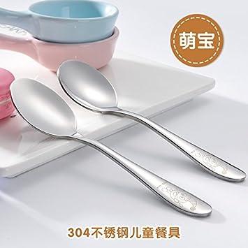 Xing Lin Cubertería Para Niños Cuchara De Acero Inoxidable De Alimentación Del Bebé De La Cuchara