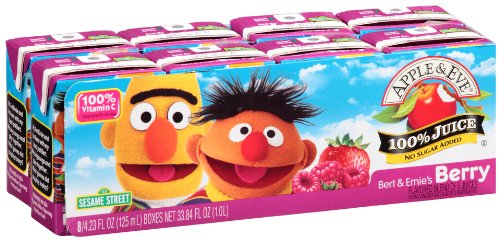 Apple & Eve Sesame Street Bert and Ernie's Berry Juice, 4.23 Fluid-oz., 40 Count (Kids Organic Juice Boxes)