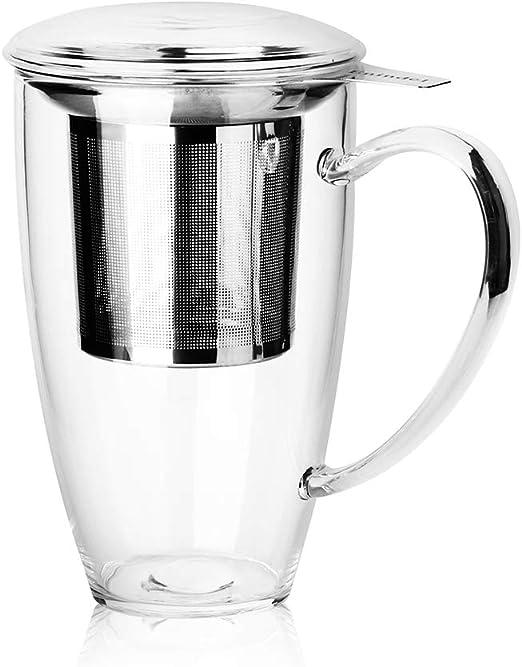 13.5 oz Borosilicate Glass Tea Cups Insulated Coffee Mug Cup Stainless Steel Lid