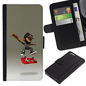 KLONGSHOP / Tirón de la caja Cartera de cuero con ranuras para tarjetas - Teenage Skateboard Cgi - Apple iPhone 6 PLUS 5.5