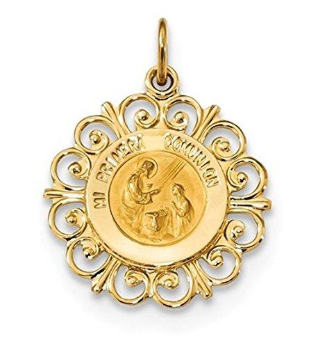 14k Yellow Gold Spanish 1st Communion Medal Pendant ()