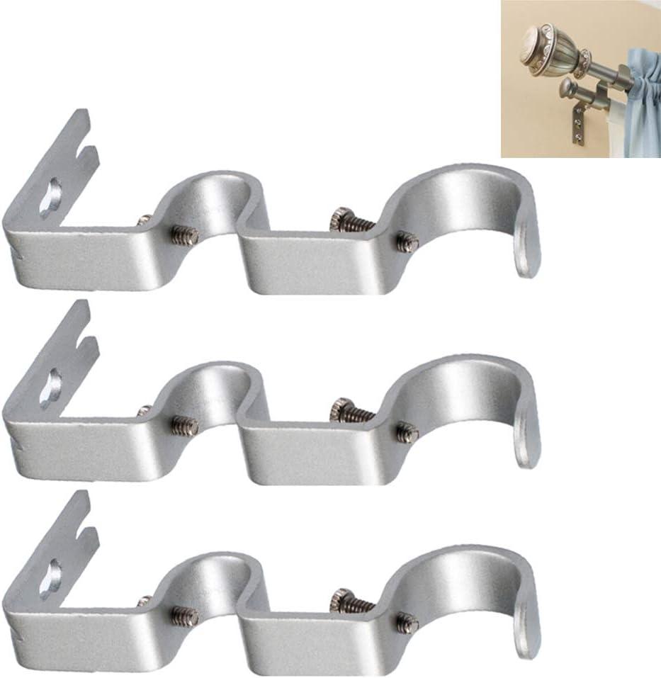 "Nuoda Double Curtain Rod Bracket Hooks,Wall Bracket,Heavy Duty Vintage Curtain Rod Holder for 1"" and 1/2"" Rod(Set of 3pcs) (Silver)"