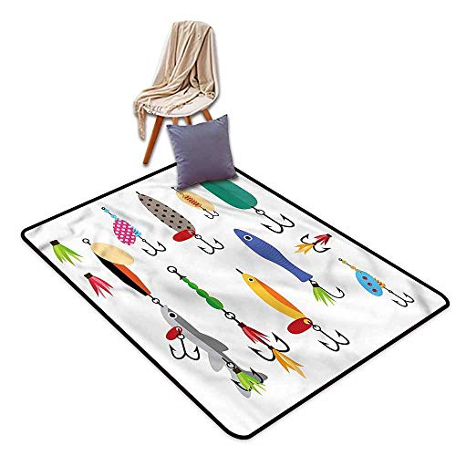 Classroom Rug,Fishing Stinger Net and Worms,Ideal Gift for Children,4'7