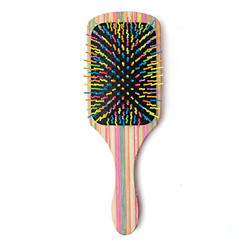 (WINSUN Natural Bamboo Hair Brush, Natural Rainbow Bamboo Paddle Hair Brush with Colorful Nylon Pins, Good Massage and Anti Static Detangling Hair Brush for Woman, Girls and Kids, for All Hair Types.)