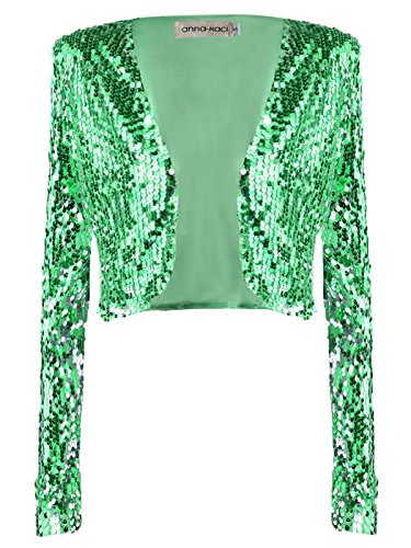 - Anna-Kaci Womens Shiny Sequin Long Sleeve Glitter Cropped Blazer Bolero Shrug, Green, Medium