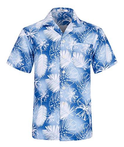 Men's Hawaiian Shirt Short Sleeve Aloha Shirt Beach Party Flower Shirt Holiday Print Casual Shirts Feather Lightblue EHS003-3XL ()