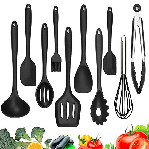 Silicone Kitchen Utensils - 10 Pack Heat-Resistant Kitchen Utensil Set Cooking Tools
