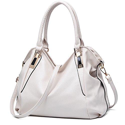 Women Handbag Shoulder Bag Messenger Tote Purse PU Leather (White) - 5