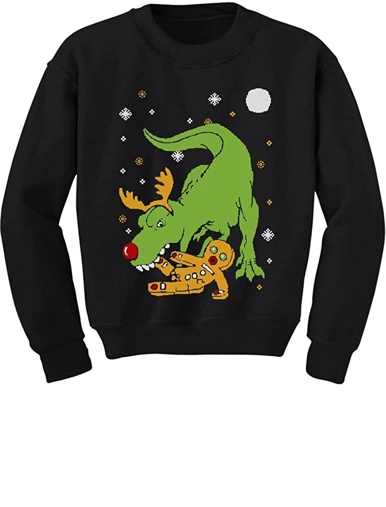 T-Rex Biting Gingerbread Funny Ugly Christmas Toddler/Kids Sweatshirts GtPtlPagf5