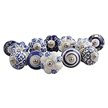 Set of 12 Handmade Knobs Blue Floral Handles IndianShelf Ceramic Cabinet Pulls Silver Finish