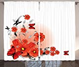 Poppy Decor Curtains Floral Flash Background with Butterflies Spring Season Hope and Inspiration Theme Living Room Bedroom Decor 2 Panel Set Pomegranate Black