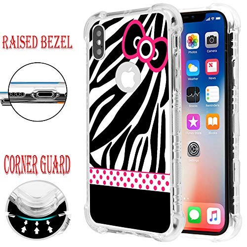 for iPhone XR, Raised Edge Slim Protective Shockproof Rubber TPU Case Cover - Hello Kitty #Zebra