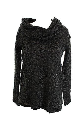 - Sanctuary Womens Black Cowl Neck Lurex Boucle Long Sleeve Sweater XS