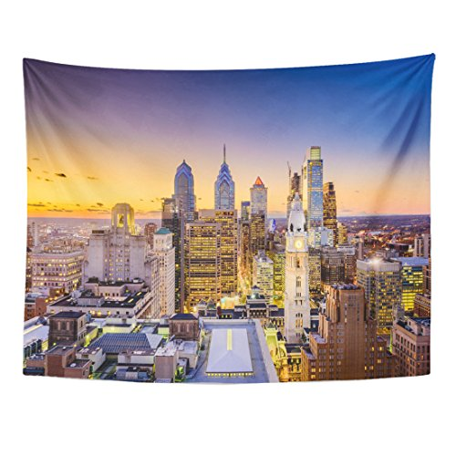 TOMPOP Tapestry Cityscape Philadelphia Pennsylvania USA Downtown City Skyline Architecture Aerial Home Decor Wall Hanging for Living Room Bedroom Dorm 60x80 Inches