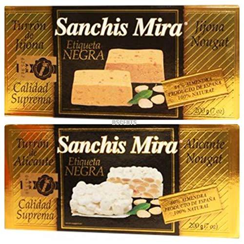 Sanchis Mira Turron Combo Pack 1 Jijona & 1 Alicante. Pack of 2