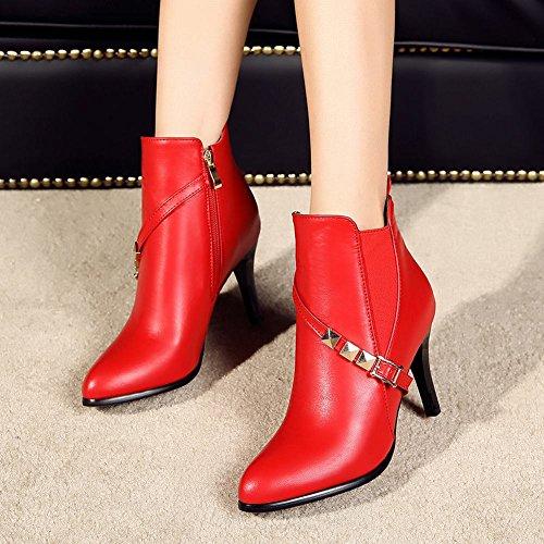 Carolbar Mujeres Pointed Toe Zip Sexy Hebilla De La Fecha Del Remache Del Alto Talón Del Vestido De Botas Rojas