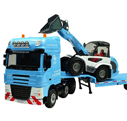 (Happy Cherry 1:50 Scale Equipment Alloy Trailer Moveable Model Semi Truck with Skid Steer Loader Toy)