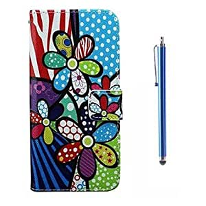 Fashionable Cartoon Flowers Pattern PU Leather Cover and Capacitance Pen with Stand for iPhone 6 Phone Cases