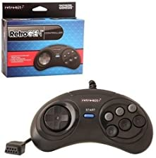 Retro-Bit 6 Button Wired Retro Pad-Black, Sega Genesis