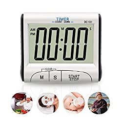 Cooking Timer by Fliiners Digital Kitchen Timer with Large Display Countdown Up Timer Clock, Loud Sounding Alarm, Strong Magnetic Backing, Retractable Stand