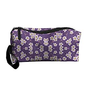Travel Makeup Pear Blossom Purple Cosmetic Case Organizer Portable Artist Storage Bag Toiletry Jewelry Pen Holder Stationery Pencil Pouch