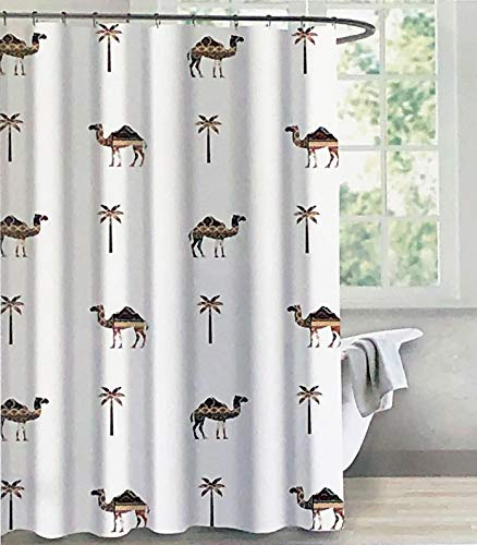 Cotton Curtain Sahara - Envogue Designer Shower Curtain Decorated Camels Palm Trees Geometric Fill Patterns on White 100% Cotton Luxury - Sahara Camel
