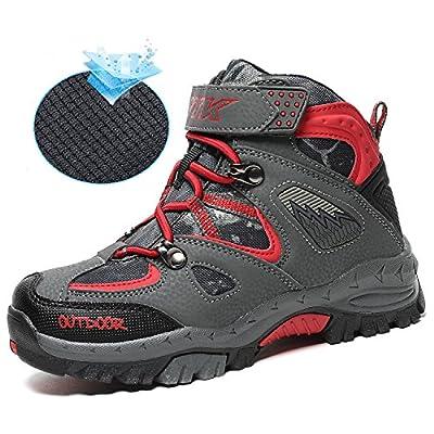 Ashion Kids Hiking Shoes Walking Snow Boots Antiskid Steel Buckle Sole Waterproof Winter Outdoor Climbing Cotton Sneaker