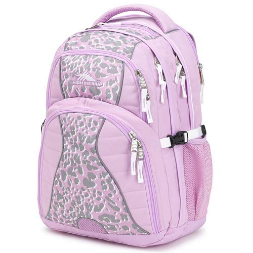 High Sierra Swerve Laptop Backpack, 17-inch Laptop Backpack for High School or College (Iced Lilac/Shadow Leopard/White)