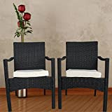 Cheap Leaptime Outdoor Indoor Dining Chairs Match Dining Tables Patio Rattan Chair Wicker Garden Chairs Set of 2 (Black)