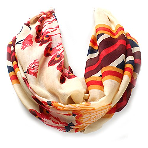 Black, Ivory, or Coral Pueblo Feather Western Style Infinity Scarf from the WYO-HORSE Jewelry Collection (Ivory)